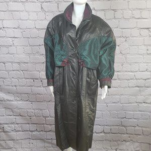 Vintage Pelle 80's Long Leather Coat, Large